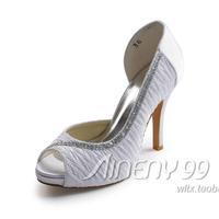 Aineny99 White Peep Toe Colourful Beading Inside Platform High Heels Satin Wedding Bridal Evening Party Shoes Free ShippingL108