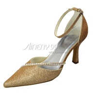 Aineny99 Shiny Pointed Toe High Heel Glitter PU Beading Pumps Wedding Bridal Evening Party Women Dress Shoes Multiple ColorsL670