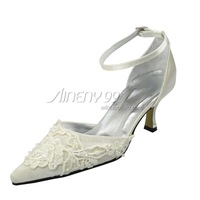 Aineny99 Fashion Ivory Pointed Toe Spike Heels Embroider Buckle Strap Satin Wedding Bridal Evening Party Shoes Free ShippingL959