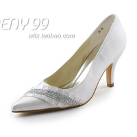 Aineny99Custom MadeWhite Pointed Toe Colourful Beading Stiletto Heel Satin Wedding Bridal Evening Party Shoes Free Shipping L075