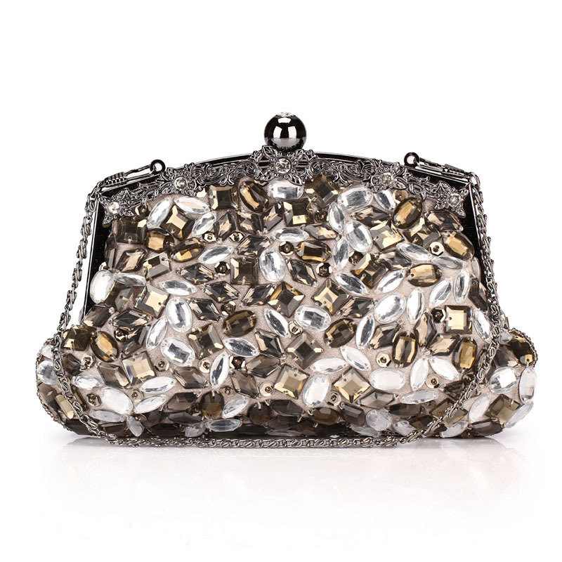 Luxury vintage crystal clutch cheongsam bag elegant evening bag black hardware technology package women's handbag 253(China (Mainland))
