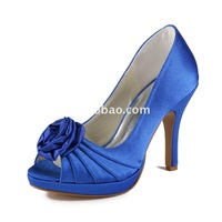 Aineny99 Lovely Blue Bow Peep Toe Platform High Heels Flower Satin Wedding Bridal Evening Party Shoes Free Shipping L149