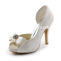 Aineny99 New Ivory Bow Peep Toe Bowtie Rhinestone Inside Platform High Heels Pumps Satin Wedding Bridal Shoes Free Shipping L128