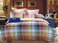 british style blue orange lattice pattern fashion home textile cotton 4pcs queen/full bedding sets comforter/quilt/duvet covers