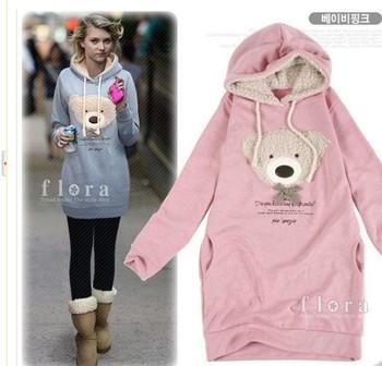 2014 Casual  sell  Products NEW hoodie long top pullover winter coat garment coat women's coat hoodie Cute teddy bear