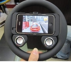 New wholesale Game wheel speaker Steering Wheel Controller for iphone 4,retail package,72pcs/lot(China (Mainland))