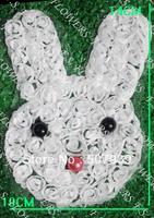 Free ePacket/CPAP 120pcs 14x10CM white chiffon rosettes bunny applique for fashion garment accessories