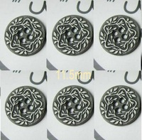 Retro-stlyle Four Hole Metal Button with Flower pattern   11.5mm