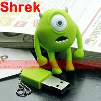 Free Shipping 2GB|4GB|8GB Cartoon Shrek USB Flash Drive Memory Disk 100% Full Capacity