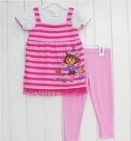 Комплект одежды для девочек 2013 Summer new children 2pc sets Minnie Mouse sports suit, kids cotton leisure clothing set 80-120