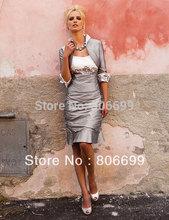 stock Free Shipping Elegant Sleeveless Taffeta Knee Length Mother of the Bride Dresses with Jacket size 6-16  A576(China (Mainland))