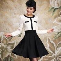 FREE SHIPPING  Skirt autumn  one-piece dress overcoat skirt woolen expansion skirt ol elegant gentlewomen elegant slim black