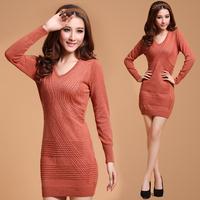 2014 Sweater One-piece Dress Solid Color V-neck Slim Wool Autumn & Winter Knit Dress Long Design Basic Dress