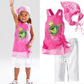 free shipping 5sets /lot  children clothing set baby girls summer 3pcs set  top+pant +headwear