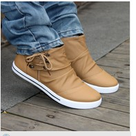 Male casual shoes high lacing pedal lounged foot wrapping the tide single shoes