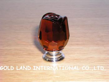 D30xH40mm Free shipping 300pcs/lot crystal glass rose flower furniture knob