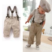 free shipping 5sets /lot  baby boy summer 2pcs set  baby boy gentlemen style stripe top/T-shit+suspender pant
