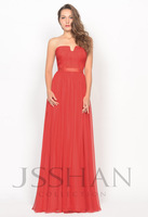12P049 Celebrity Strapless Ruched A-Line Chiffon Formal Prom Evening Dress Red Prom Dress