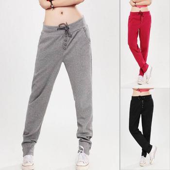 Korean Women's Casual Drawstring Sweat Sports Harem Pants Solid Color Spliced ...