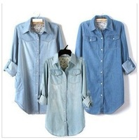 2013 new long sleeve turn-down collar jeans woman shirt , ladies' blouse, jeans shirt, S-XXL free shipping