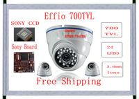 Promotion     Effio-e 700tvl 24leds 3.6mm lens   metal housing indoor/Outdoor dome Camera free shipping