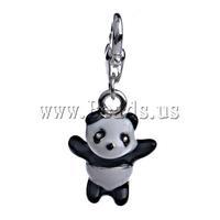 FREE SHIPPING 10pcs/Bag Jewelry Findings Kawaii Panda Design Zinc Alloy With Enamel Lobster Clasp Charm  33.5x15.5x8mm