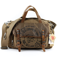 free shipping canvas+ cowhide men handbag fashion vintage messenger bag casual classic travel bag popular designer