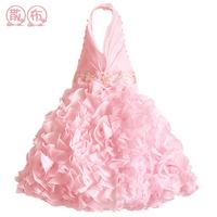 Children's Dresses 2014 Girls Flower Color Dress Sleevest Nice Fashion Formal Occation Kids Party Wedding Dresses Free Ship J09