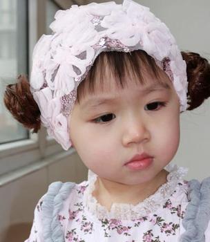 2013 Baby Girls Headband pink Flower Lace Chiffon Mesh headbands Child Wig flower Hair Accessory children's stretch headbands