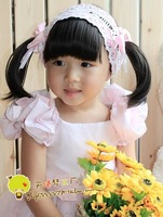 Детский аксессуар для волос Baby Hair Bands Wig Bowknot Flower Children Hair Accessory/accessories kids Girls Rose Pink hair net ornaments Head decoration