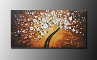 handmade palette knife blossom trees painting,Abstract the hot oil paintings, high quality hand-painted products