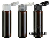300pcs/lot Free Shipping 30ML PET Plastic Bottle Brown Color with Flip Cap for Lotion Water