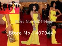 Free Shipping New Arrival 2014 Sexy Yellow Chiffon Floor length Sheath Peplum Red Carpet Dress  Evening Dresses Custom Made