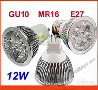 MR16/GU10/E27/E14 Dimmable LED Spot Light Bulb Spotlight Spot Lamp 12W 4x3W Free Shipping 10pcs