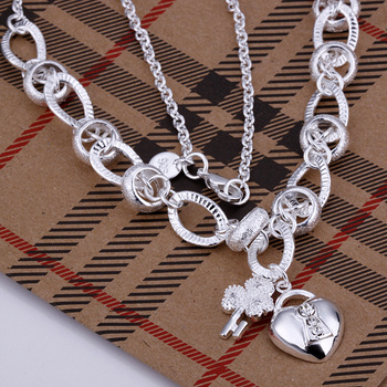 5pcs N190 wholesale fashion jewelry 925 silver necklace key pendant crystal heart necklace 925 costume jewellery free shipping