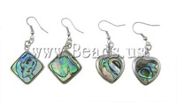 Free Shipping Popular Style Brass Hook Mixed Color & Shape Approx 17-22x3-4mm 10Pairs/Bag Abalone Shell Earrings