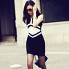 Autumn Office Ladies One-piece Dress/ Workwear Women/ Elegant Knitted Dress Office Wear/ Geometric Patchwork Dress