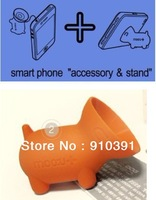 Free shipping mini pig smart phone accessory & stand,3D pig phone stand dust plug,suction cup mobile holder as phone accessory.