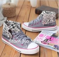 free shipping Han female high help fashion thick bottom frenum movement flat canvas shoes