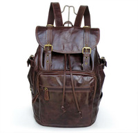 Vintage Tan HANDMADE Leather Men's Chocolate Hiking Backpack Travel Camping Bag,M112