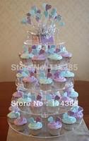 5 tier round maypole clear acrylic wedding cupcake stand, 5 tier perspex cupcake stand, 5 tier plexiglass cake stand