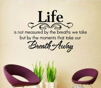 Life Take Our Breath Away Removable Vinyl Wall Poet Art Word Sticker DIY 3D Family Room Wall Decal Quote Decoration