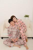 Free shipping 2012 autumn and winter lovers  sleepwear  long-sleeve 100% cotton  Couple Pajamas  lounge set DZ1336