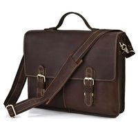 Vintage Crazy Horse HANDMADE Leather Men's Dark Brown Briefcase Messenger Crossbody Laptop Bag,M119