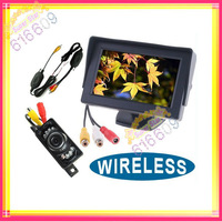 "WIRELESS CAR REAR VIEW KIT 4.3"" LCD color MONITOR+6LED IR Reverse Car Rear View Backup Camera free shipping"