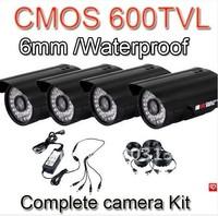 Free shipping 4x CCTV Outdoor Security 600TVL CCTV Camera Weatherproof Day Night Vision Surveillance Kit