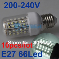 10Pcs/Lot NEW 3W SMD3528 66-LED White E27 Bulb Lamp Light 200~240V Free Shipping 3087