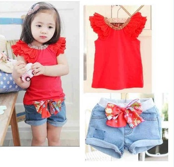 2013 Hot sale summer girls toddler clothing set 2pcs kidsred short sleeve t shirts+bow shorts baby suit set