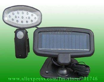 Wholesale 1W 15LED Solar pir utility light for security Motion senser wall light 50pcs/lot Free shipping