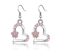 18K White Gold Plated Hearts Rhinestones Earrings Made of Genuine Austrian Crystals Jewelry 2154